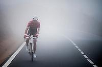 Alberto Contador (ESP/Trek-Segafredo) up the misty Tiede Volcano in Tenerife<br /> <br /> january 2017, Tenerife/Spain