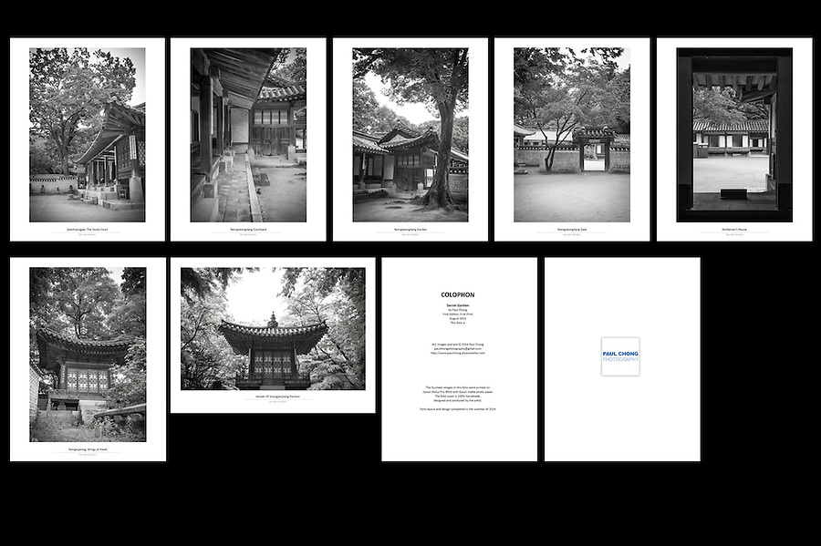Folio Title: Secret Garden<br /> Size: 8 x 10.5 Inch<br /> Price: 180$ <br /> Photographs: Each folio consisted of 14 photographs<br /> Creation: This folio is handmade, design and hand-signed by Paul Chong<br /> Edition: Only 5 copies of folio will be release for every new edition<br /> Shipping: Free worldwide delivery