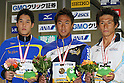 (L to R) .Yuki Kobori, .Hidemasa Sano, .Ryusuke Sakata, .FEBRUARY 11, 2012 - Swimming : .The 53rd Japan Swimming Championships (25m) .Men's 200m Butterfly Victory Ceremony .at Tatsumi International Swimming Pool, Tokyo, Japan. .(Photo by YUTAKA/AFLO SPORT) [1040]
