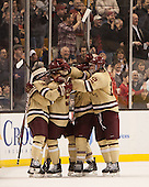Steven Whitney (BC - 21), Michael Matheson (BC - 5), Kevin Hayes (BC - 12) - The Boston College Eagles defeated the Northeastern University Huskies 6-3 on Monday, February 11, 2013, at TD Garden in Boston, Massachusetts.