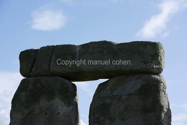 Sarsen Trilithons (fragment), Stonehenge, Neolithic and Bronze Age megalithic monument, 3050 - 1500 BC, Salisbury, Wiltshire, England, UK. Picture by Manuel Cohen
