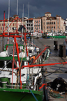 Europe/France/Aquitaine/64/Pyrénées-Atlantiques/Pays Basque/Saint-Jean-de-Luz:  le port de pêche et en fond la Maison de l'Infante
