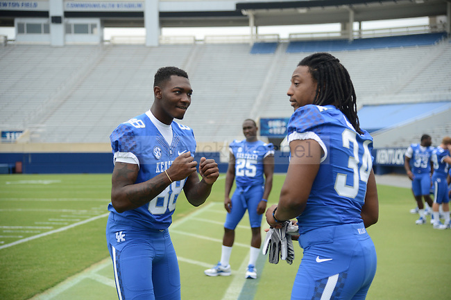Kory Brown and teammate J.D. Harmon at UK Football Media Day on Friday, August 3, 2012. Photo by Mike Weaver| Staff
