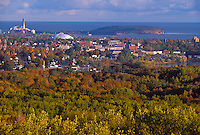 The city of Marquette, Mich. is seen from a lookout on Mount Marquette in fall.
