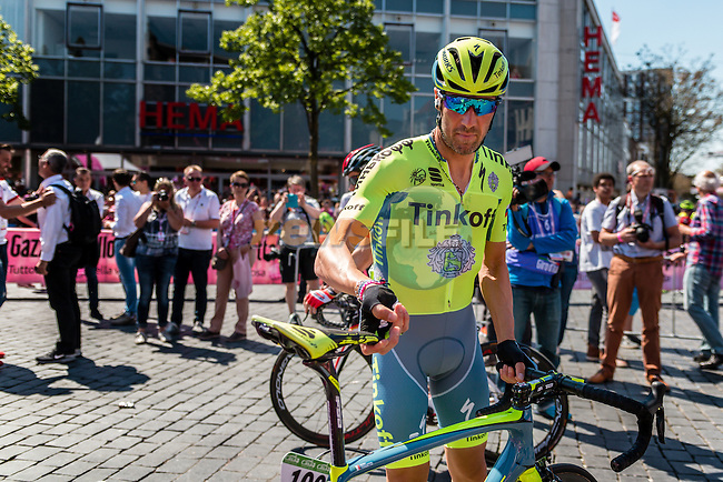 TOSATTO Matteo from Italy of Tinkoff (RUS) signing in before the start at Nijmegen, stage 3 from Nijmegen to Arnhem running 190 km of the 99th Giro d'Italia (UCI WorldTour), The Netherlands, 8 May 2016. Photo by Pim Nijland / PelotonPhotos.com | All photos usage must carry mandatory copyright credit (Peloton Photos | Pim Nijland)