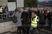 Residents at the Civic Centre in Ebbw Vale in protest of the Borough of Blaenau Gwent's new Trolibocs recycling system. <br /> <br /> <br /> Jeff Thomas Photography -  www.jaypics.photoshelter.com - <br /> e-mail swansea1001@hotmail.co.uk -<br /> Mob: 07837 386244 -