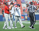 Ole Miss head coach Houston Nutt calls time out at Vaught-Hemingway Stadium in Oxford, Miss. on Saturday, September 24, 2011. Georgia won 27-13.