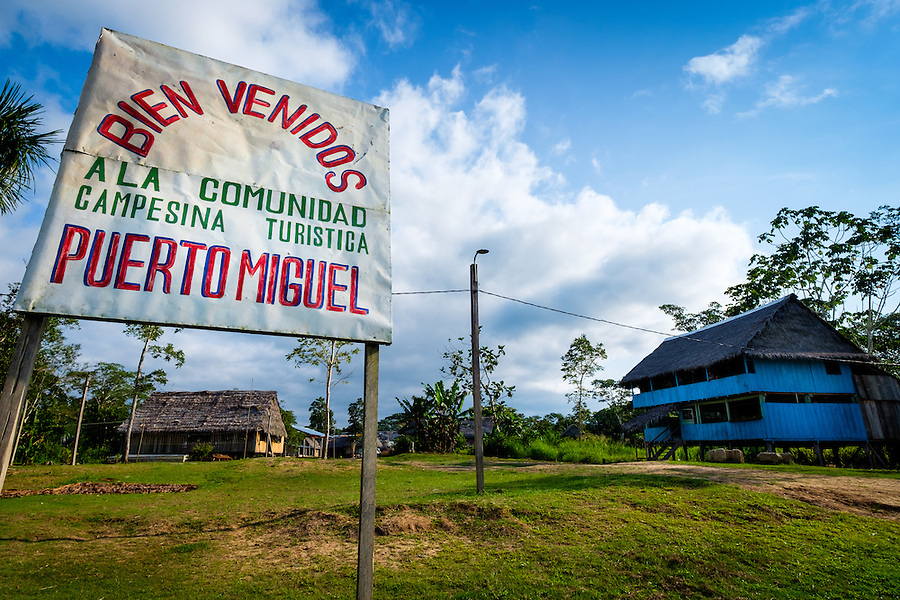 LORETO, PERU - CIRCA OCTOBER 2015:  Village of Puerto Miguel, in the Yarapa river in the Peruvian Amazon.