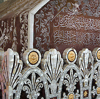 Detail of tomb of Sultan Osman Gazi, 1258-1326, founder of the Ottoman dynasty, Bursa, Turkey. During the siege of Bursa, Osman Gazi indicated to his son Orhan Gazi a domed structure within the city and asked to be buried there. This Byzantine structure later became a mosque and was destroyed in the earthquake of 1855. A new tomb has since been built. The sarcaophagus is of wood inlaid with mother of pearl and is surrounded by the sarcophagi of Savci Bey son of sultan Murad I, Alaaddin Bey son of Orhan Gazi, Aspuce Hatun wife of Orhan Gazi and Ibrahim Bey son of Orhan Gazi and 12 unidentified sarcophagi. Picture by Manuel Cohen