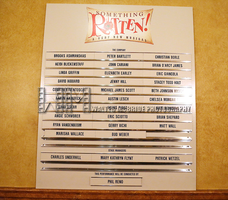 Lobby Cast Board for the Opening Night of  'Something Rotten'  at  the St. James Theatre on April 22, 2015 in New York City.