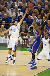 31 MAR 2012:  Anthony Davis (23) of the University of Kentucky tries to block the shot of Tyshawn Taylor (10) of the University of Kansas in the championship game of the 2012 NCAA Men's Division I Basketball Championship Final Four held at the Mercedes-Benz Superdome hosted by Tulane University in New Orleans, LA. Kentucky defeated Kansas 67-59 to win the national title. Brett Wilhelm/NCAA Photos