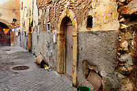 """Narow street of the old city of the Portuguese Fortified city of Mazagan, El Jadida, Morocco. El Jadida, previously known as Mazagan (Portuguese: Mazag""""o), was seized in 1502 by the Portuguese, and they controlled this city until 1769.  Picture by Manuel Cohen"""