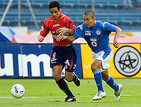 Cruz Azul forward Cesar Villaluz (R) fights for the ball against Veracruz Tiburones defender Miguel Acosta during their soccer match in the Azul Stadium in Mexico City, April 8, 2006. Cruz Azul won 3-0 to Veracruz... Photo by © Javier Rodriguez