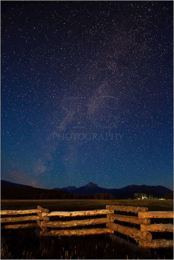 I was meeting a friend for a early hike up James Peak on this morning but I couldn't pass up photographing the Milky Way rising over Byers Peak. This Colorado Image was taken an hour before sunrise. I used a flashlight to light up the fence in the foreground.