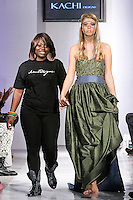 West African fashin designer Chigozie Anaele, walks runway with model at the close of her Kachi Designs Spring Summer 2012 fashion show, during BK Fashion Weekend Spring Summer 2012.