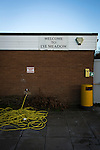 Alvechurch FC 3 Highgate United 0, 26/12/2016. Lye Meadow, Midland Football League Premier Division. A sign and hosepipe at Lye Meadow before Alvechurch hosted Highgate United in a Midland Football League premier division match. Originally founded in 1929 and reformed in 1996 after going bust, the club has plans to move from their current historic ground to a new purpose-built stadium in time for the 2017-18 season. Alvechurch won this particular match by 3-0, watched by 178 spectators, taking them back to the top of the league. Photo by Colin McPherson.