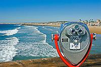 Manhattan Beach Pier Telescope watching Waves come to shore