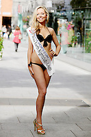 17/9/2010. Miss Ireland contestants. Miss Louth Carla Madden is a relation of Mel Gibson is pictured at St Stephens Green. the 35 Miss Ireland contestants officially unveiled in their swimwear and sashes for the 1st time at Stephen's Green Shopping Centre,  Dublin. Picture James Horan/Collins Photos
