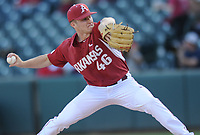 NWA Democrat-Gazette/ANDY SHUPE<br /> Arkansas starter Barrett Loseke delivers to the plate against Memphis Tuesday, April 18, 2017, during the first inning at Baum Stadium. Visit nwadg.com/photos to see more photographs from the game.