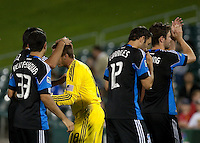 Quakes players celebrate with goalkepper Jon Busch (center, yellow) after the win. The San Jose Earthquakes defeated Chivas USA 6-5 in shootout after drawing 0-0 in regulation time to win the inagural Sacramento Cup at Raley Field in Sacramento, California on June 12, 2010.