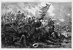 Dramatic battle scene of Union Army soldiers charging past dead and wounded comrades with tattered battle flag flying, swords and rifles at the ready. Civil War Harper's Weekly, 1864 The Campaign in Virginia &quot;On to Richmond&quot; by famous illustrator Thomas Nast.  Vintage illustration, 1864