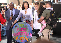 Justin Bieber with hosts Al Roker and Ann Curry on NBC's Today Show Toyota Concert Series in New York City. June 15, 2012. © RW/MediaPunch Inc.