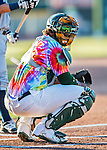 29 July 2016: Vermont Lake Monsters catcher Miguel Guzman glances back to the dugout during a game against the Brooklyn Cyclones at Centennial Field in Burlington, Vermont. The Lake Monsters fell to the Cyclones 8-5 in NY Penn League action. Mandatory Credit: Ed Wolfstein Photo *** RAW (NEF) Image File Available ***