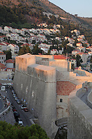 The Eastern ramparts of the medieval walled city, Dubrovnik, Croatia. The city developed as an important port in the 15th and 16th centuries and has had a multicultural history, allied to the Romans, Ostrogoths, Byzantines, Ancona, Hungary and the Ottomans. In 1979 the city was listed as a UNESCO World Heritage Site. Picture by Manuel Cohen