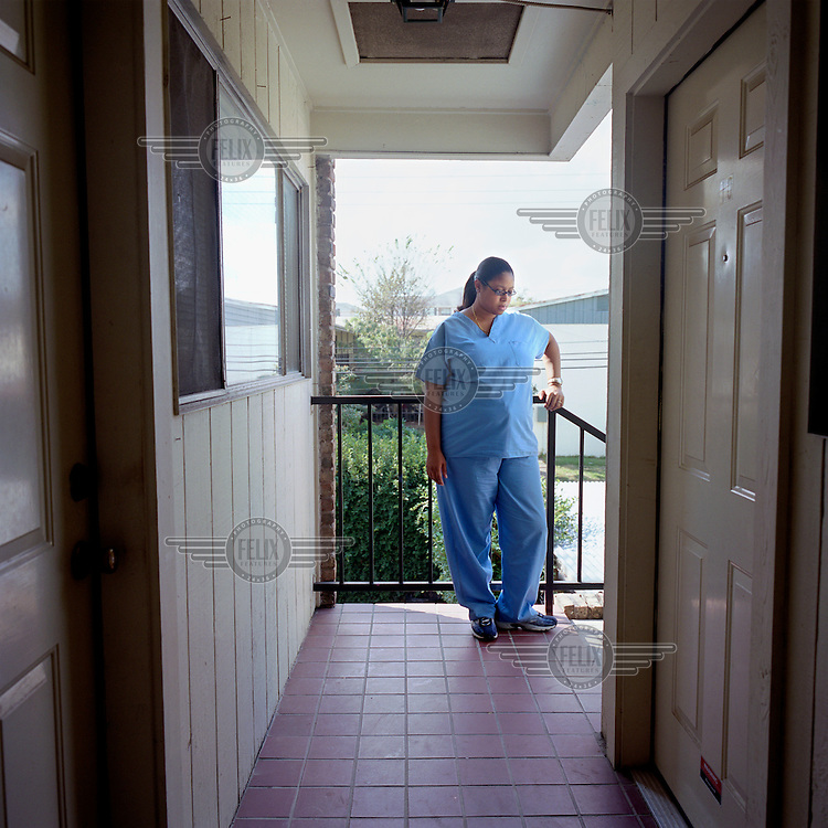 Jovelle Joubert, daughter of Linda Carty - a British citizen on death row in Texas - outside her grandmother's apartment in Houston, Texas..