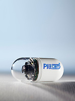 The PillCam SB video capsule measures 11 mm x 26 mm and weighs less than 4 grams. This miniature camera contains an imaging device and light-source on one-side and transmits images at a rate of 2 images per second generating more than 50,000 pictures over an 8-hour period.