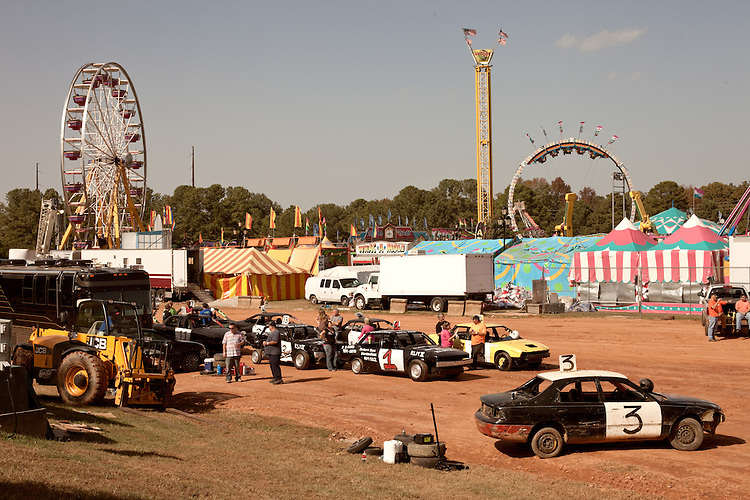 October 20, 2012. Raleigh, North Carolina.. Cars are readied for the 2012 North Carolina State Fair figure eight races. The races were judged in 2 qualifying heats of 8 laps and then the qualifiers competed in a 10 lap finale..