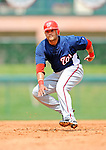 12 March 2008: Washington Nationals' outfielder Alex Escobar holds up on the basepath during a Spring Training game against the Los Angeles Dodgers at Holman Stadium, in Vero Beach, Florida. The Nationals defeated the Dodgers 10-4 at the historic Dodgertown ballpark. 2008 marks the final season of Spring Training at Dodgertown for the Dodgers, as the team will move to new training facilities in Arizona starting in 2009 after 60 years in Florida...Mandatory Photo Credit: Ed Wolfstein Photo