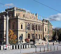 The National Theatre or Rudolfinum, built 1876-1884 in neo-Renaissance style by architects Josef Zitek and Josef Schulze on Jan Palach Square in Prague, Czech Republic. Originally intended as a multipurpose cultural building, the Rudolfinum was inagurated on February 7, 1885. In 1919 it was converted to the House of Commons of the Czechoslovak Republic. Concert activity was restored to the Rudolfinum during the German occupation, and fully after 1992 with a general reconstruction by architect Karel Prager, when it became home to the Czech Philharmonic and the Rudolfinum Gallery. The historic centre of Prague was declared a UNESCO World Heritage Site in 1992. Picture by Manuel Cohen
