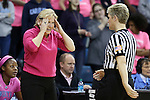 19 February 2015: UNC head coach Sylvia Hatchell (left) with referee Jennifer Rezac (right). The University of North Carolina Tar Heels hosted the Wake Forest University Demon Deacons at Carmichael Arena in Chapel Hill, North Carolina in a 2014-15 NCAA Division I Women's Basketball game.