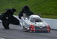Jun 20, 2015; Bristol, TN, USA; NHRA funny car driver Tim Wilkerson during qualifying for the Thunder Valley Nationals at Bristol Dragway. Mandatory Credit: Mark J. Rebilas-