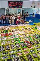 Fish auction at Confradia de Pescadores de Luarca, Confederation of Luarca Fishermen, at Puerto Luarca in Asturias, Spain