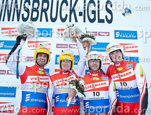 27.11.2010, Eiskanal, Igls, AUT, Viessmann Rennrodel Weltcup in Innsbruck 2010, Herren Doppelsitzer, im Bild (v.l.) Andreas Linger und Wolfgang Linger (AUT, 1. Platz), Georg Fischler und Peter Penz (AUT, 3. Platz) am Podium, EXPA Pictures © 2010, PhotoCredit: EXPA/ J. Groder / SPORTIDA PHOTO AGENCY