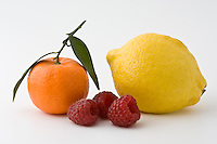 Clementine, lemon and raspberries, London, England, United Kingdom