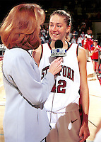 Lauren St. Clair is interviewed by Fox Sports during the 1999-2000 women's basketball season at Maples Pavilion in Stanford, CA.