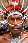 Dani tribesman, traditional ceremonial garb, Highlands of Irian Jaya, Indonesia