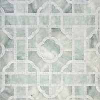 Royal Palace, a waterjet and hand-cut stone mosaic, shown in polished Ming Green and Afyon White, is part of the Altimetry collection design by Paul Schatz for New Ravenna.