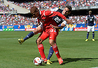 Chicago, IL - Sunday July 28, 2013:  USMNT defender Alejandro Bedoya (20) battles with Panama's Robert Chen (23) during the CONCACAF Gold Cup Finals soccer match between the USMNT and Panama, at Soldier Field in Chicago, IL.