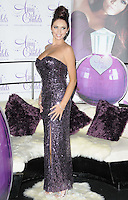 Amy Childs.The photocall to launch her debut fragrance in collaboration with Jigsaw, Aura bar & nightclub, London, England..August 15th, 2012.full length purple strapless dress  sequins sequined hair up bun side slit split .CAP/CAN.©Can Nguyen/Capital Pictures.