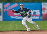 12 July 2015: Vermont Lake Monsters shortstop Richie Martin in action against the West Virginia Black Bears at Centennial Field in Burlington, Vermont. Martin, the first round pick for the Oakland Athletics organization, drafted 20th overall, helped the Lake Monsters come back from a 4-0 deficit to defeat the Black Bears 5-4 in NY Penn League action. Mandatory Credit: Ed Wolfstein Photo *** RAW Image File Available ****
