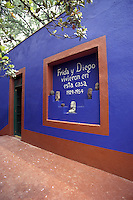 The Museo Frida Kahlo, also known as the Blue House or Casa Azul, in Coyoacan, Mexico City. Mexican artist Frida Kahlo was born this house and lived in it with her husband Diego riva from 1929 until 1954.