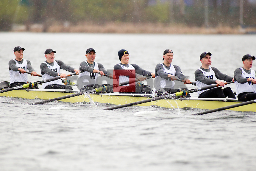 The University of Washington rowing team competes against Brown University on Lake Washington in Seattle, Wash. on Saturday March 31, 2012.(Photo by Scott Eklund /Red Box Pictures)