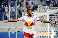 Thierry Henry (14) of the New York Red Bulls celebrates scoring during a Major League Soccer (MLS) match against`` CD Chivas USA at Red Bull Arena in Harrison, NJ, on May 15, 2011.
