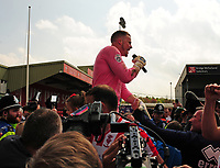 Lincoln City's Paul Farman celebrates winning the league<br /> <br /> Photographer Andrew Vaughan/CameraSport<br /> <br /> Vanarama National League - Lincoln City v Macclesfield Town - Saturday 22nd April 2017 - Sincil Bank - Lincoln<br /> <br /> World Copyright &copy; 2017 CameraSport. All rights reserved. 43 Linden Ave. Countesthorpe. Leicester. England. LE8 5PG - Tel: +44 (0) 116 277 4147 - admin@camerasport.com - www.camerasport.com