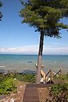 Path to beach and boat dock, Lake Michigan on beautiful summer day,  Old Mission Peninsula, Lake Michigan, Traverse City area, Michigan, USA
