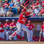 7 March 2016: Washington Nationals outfielder Bryce Harper in action during a Spring Training pre-season game against the Miami Marlins at Space Coast Stadium in Viera, Florida. The Nationals defeated the Marlins 7-4 in Grapefruit League play. Mandatory Credit: Ed Wolfstein Photo *** RAW (NEF) Image File Available ***
